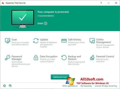 Skärmdump Kaspersky Total Security för Windows 10