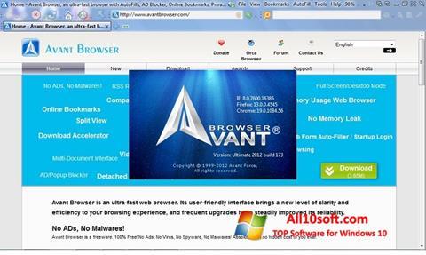 Skärmdump Avant Browser för Windows 10
