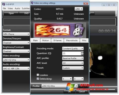 Skärmdump XviD4PSP för Windows 10
