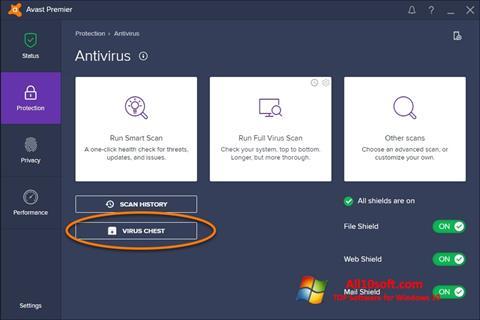 Skärmdump Avast för Windows 10