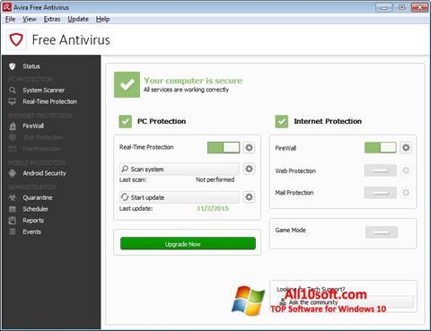 Skärmdump Avira Free Antivirus för Windows 10