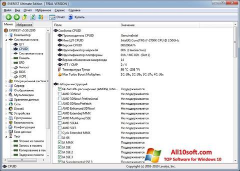 Skärmdump EVEREST för Windows 10