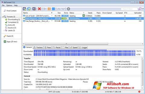 Skärmdump BitTorrent för Windows 10