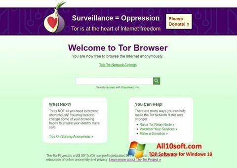 Skärmdump Tor för Windows 10