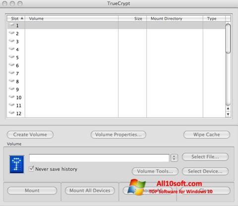 Skärmdump TrueCrypt för Windows 10