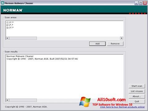 Skärmdump Norman Malware Cleaner för Windows 10
