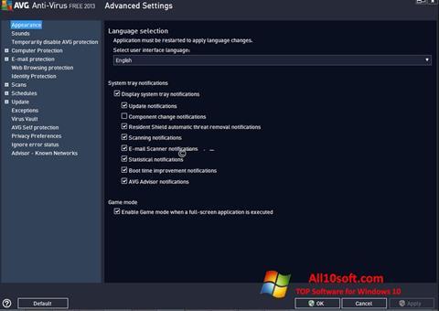 Skärmdump AVG för Windows 10