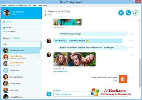 Skärmdump Skype för Windows 10